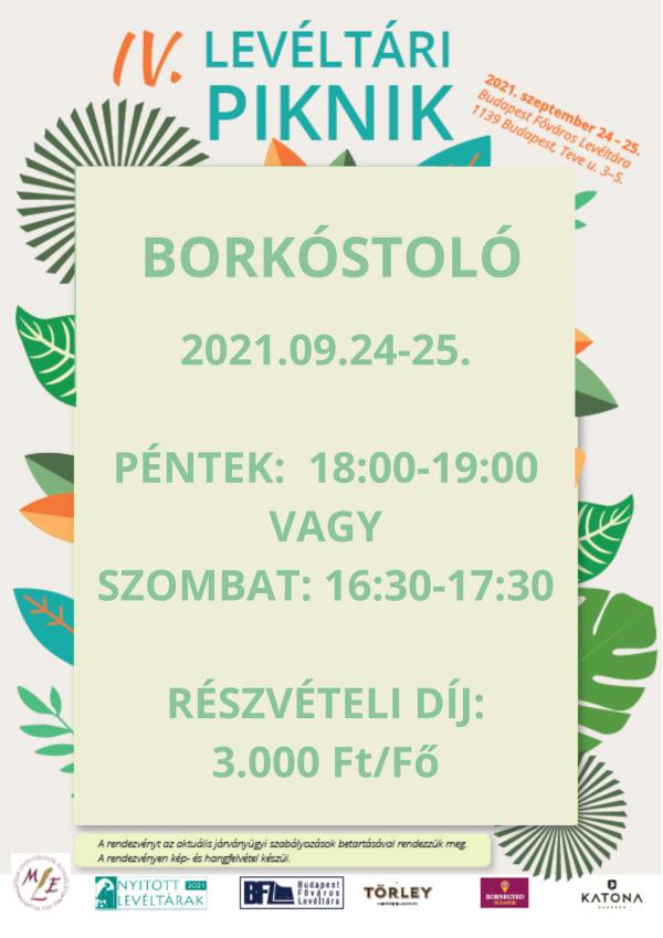 Levéltári Piknik 2021. 09.24-25. borkóstoló jegy